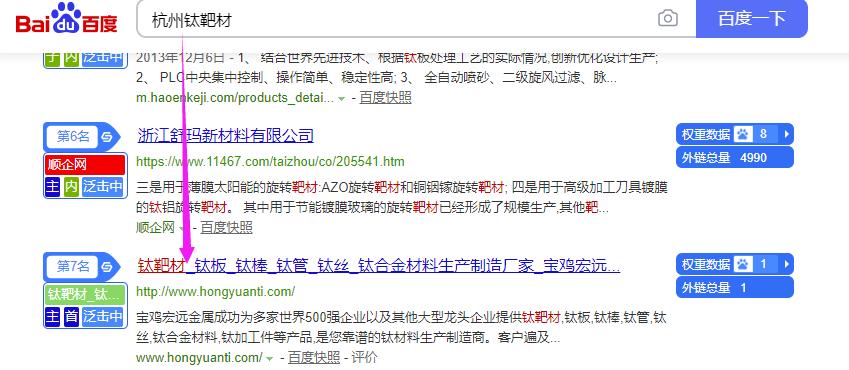 工业制造业SEO案例_整站优化钛材料公司新网站案例